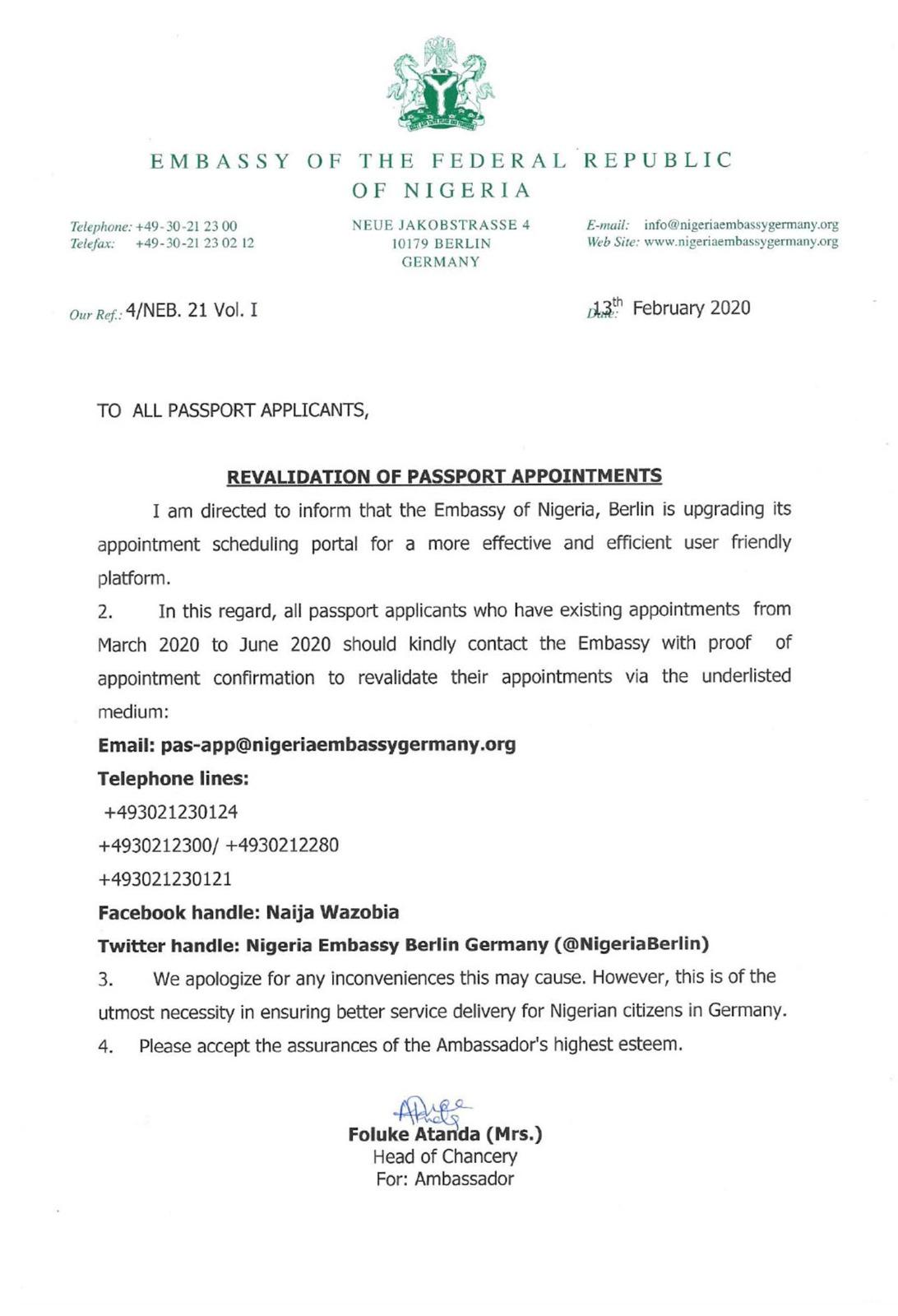 Embassy of the federal repulic of nigeria